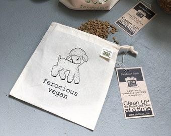 Ferocious Vegan / Reusable snack bag / organic cotton Made in the USA / Vegan Police Shop