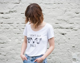 I don't eat pals Vegan Bamboo and Organic T-shirt  /  Womens white pick your size