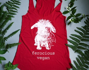 Limited Edition Red Original Ferocious Vegan ECO Bunny tank / Bamboo and Organic cotton made in Canada