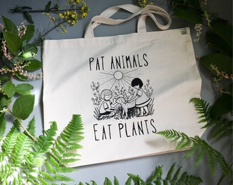Vegan tote Bag // Pat Animals Eat Plants / recycled cotton and hand printed / VeganPolice Shop