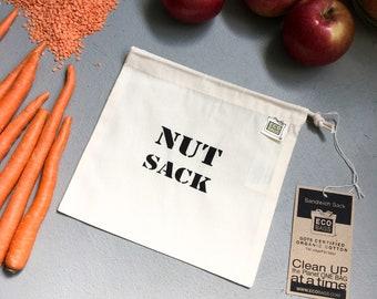 Nut Sack / Reusable snack bag / organic cotton Made in the USA / Vegan Police Shop