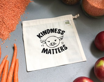Kindness Matters / Reusable snack bag / organic cotton Made in the USA / Vegan Police Shop
