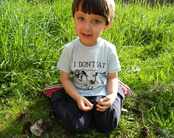 Sale I Don't Eat Pals Vegan Kids shirt  / Hand Printed / Sky blue / pick your size