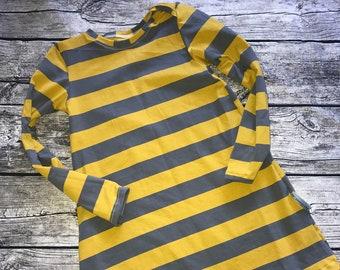 Jersey dress stripe jersey gr.134 by apricot dress girl yellow grey single piece 2nd choice