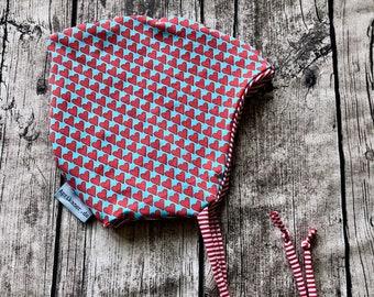 Tie cap heart red blue baby cap children's cap desired size