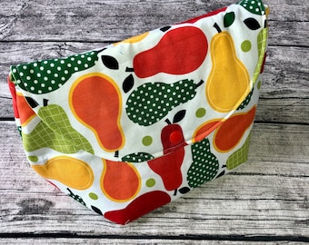 Project bag knitting, wooldascherl, cosmetic bag pear