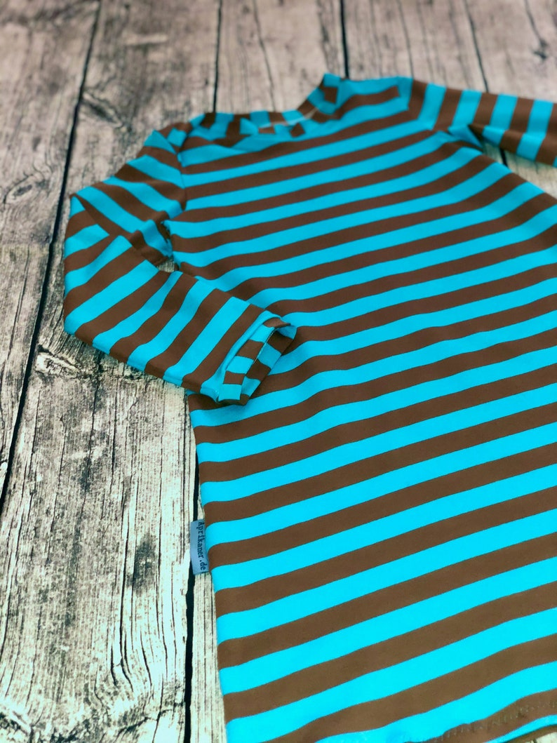 Jersey dress stripe turquoise/brown size 110-140 image 0