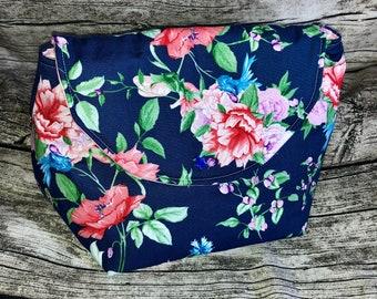 Project bag knitting, wool bag, cosmetic bag roses