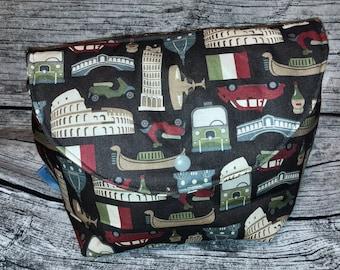 Project bag knitting, wool bag, cosmetic bag print Italy, Rome