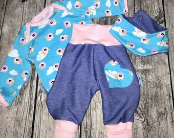 Baby Pants , Shirt and Neckscarf Birds in Set for Baby Girls Size 62/68 by Aprikaner Jersey