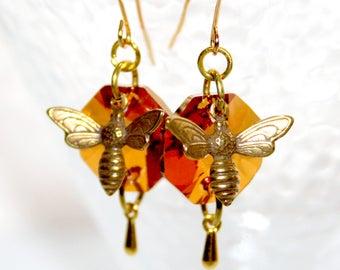 Earrings * little bees on honey crystal *.