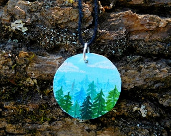 Sea of Trees Hand Painted Wooden Necklace