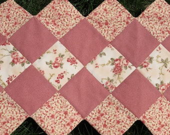 Peach Floral Quilted Table Runner