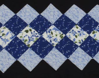 Blue Floral Quilted Table Runner