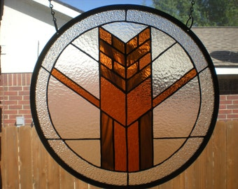 "Stained Glass Window Panel Hanging - Wheat (17""diameter)"