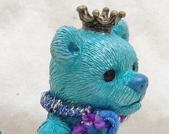 Blue Teddy Bear on a Letter Block, Custom Teddy Bear, Gift for Child, Gift for Baby, Block Letter Gift, Keepsake Teddy Bear Ornament