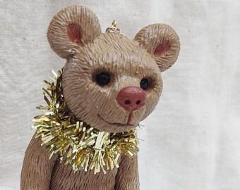 Brown Teddy Bear on a Letter Block, Custom Teddy Bear, Gift for Child, Gift for Baby, Block Letter Gift, Keepsake Teddy Bear Ornament
