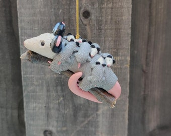 Possum Family Ornament, Opossum Family Ornament, Possum Mom and Babies, Opossum Kits, Possum Babies, Possum Ornament, Possum Gift Idea