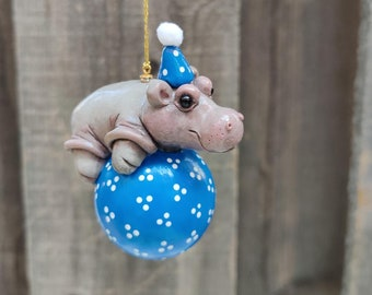 Hippo Ornament, Holiday Hippo, Hippo Gift, House Hippo, Hippo Decor, Hippopotamus, Collectible Hippo, Blue Ornament Hippo0