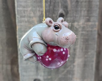 Hippo Ornament, Holiday Hippo, Hippo Gift, House Hippo, Hippo Decor, Hippopotamus, Collectible Hippo, Glitter Hippo Ornament