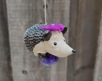 Hedgehog Ornament, Purple Ornament, OOAK, Hedgehog Gift Idea, Hedgehog Christmas, Christmas Gift Idea Hedgehog, Hedgehog Love