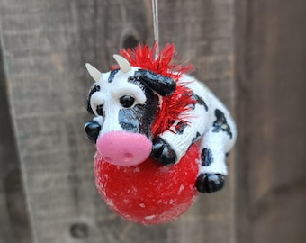 Cow Ornament, Heifer Ornament, Black and White Cow, Bovine on Red Ornament with Glitter