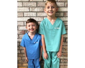 Monogrammed Kids' Scrubs, Child's Scrub Set, Baby Scrubs, Toddler Scrubs, Doctor Nurse Medical Scrubs, Big Brother Outfit, Big Sister Outfit