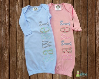 Monogrammed Baby Gown Set, Two Personalized Baby Gowns, Twin Baby Gift, Baby Shower Gift for Twins, Appliqué Baby Gowns