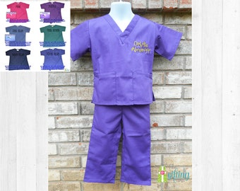 bdf101447dd Monogrammed Kids' Scrubs, Child's Scrub Set, Baby Scrubs, Toddler Scrubs,  Doctor or Nurse Scrubs, Big Brother Outfit, Big Sister Outfit