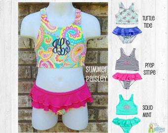 398969b8669eb Monogrammed Girl's Swimsuit, Personalized Bikini Swimsuit, Two-Piece  Swimsuit, Toddler Swimsuit, Girl's Bathing Suit, Child's Bikini Suit
