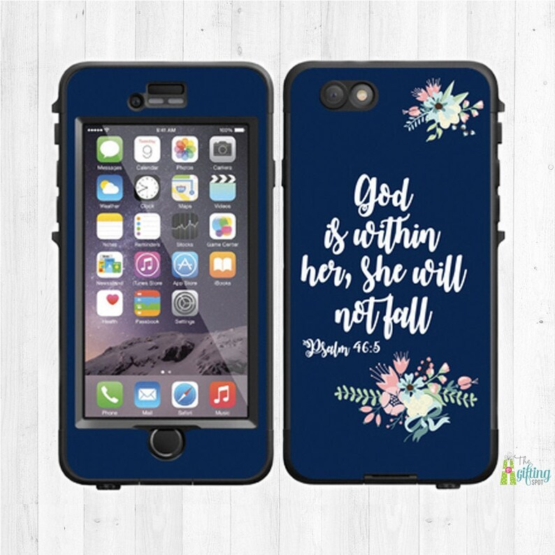 iPhone Decal Psalm 46:5 Personalized Lifeproof Case Skin Phone Case Decal Biblical Scripture Custom Lifeproof Decal Samsung Decal
