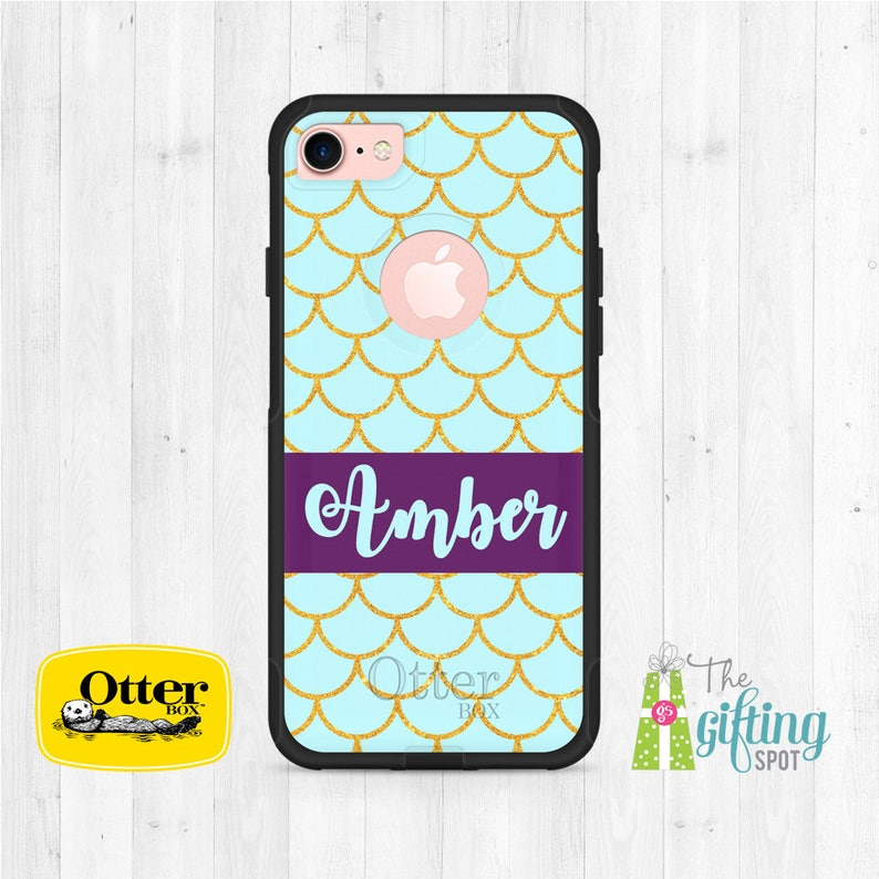 wholesale dealer bb0ea f4b8a Custom OtterBox, Personalized Phone Case, OtterBox Commuter, Monogram  OtterBox, iPhone 7, iPhone 7 Plus, iPhone 8, Gold Glitter Scales