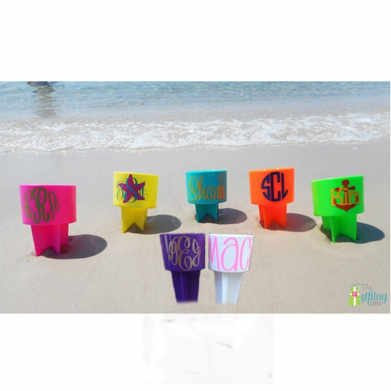 Monogrammed Beach Spiker Personalized Beach Cup Sand Spike Etsy