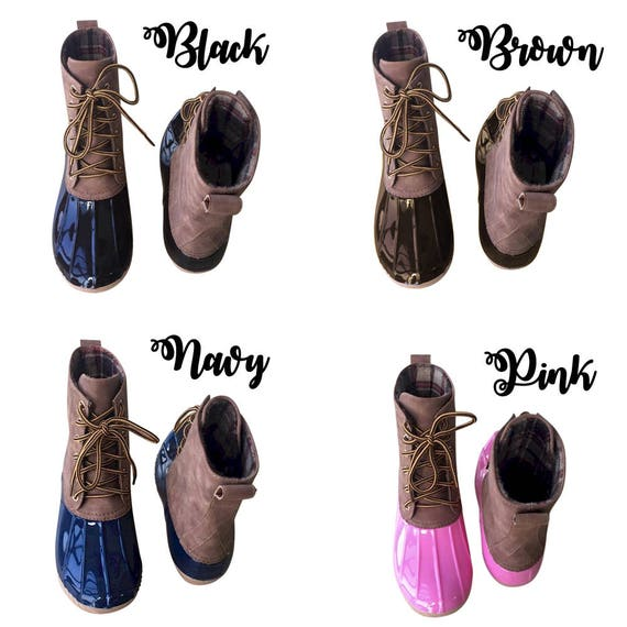 Boots Duck Boots Boots Monogrammed Boots Lined Duck Initials Water Plaid with Duck Women's Boots Boots Personalized Resistant wwO0IqR