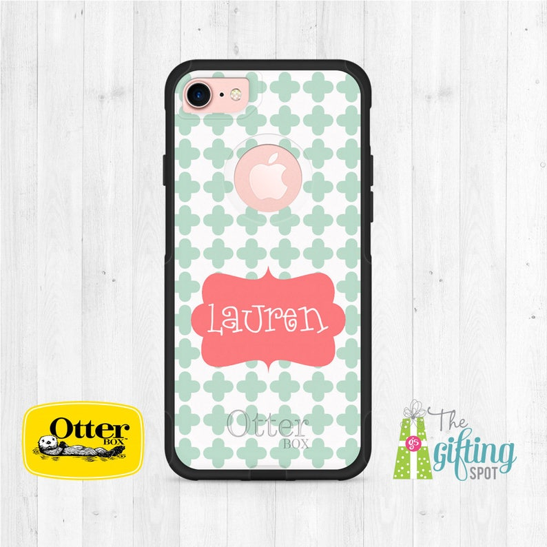 best service 3a76c 51cff Monogrammed OtterBox Commuter, Personalized Phone Case, Monogram OtterBox,  iPhone X, iPhone 8, iPhone 7 Case, Samsung Galaxy, Clover Design