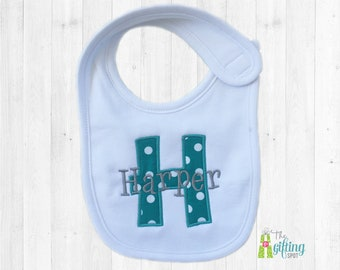 Monogrammed Baby Bib, Personalized Bib, Appliqué Bib, Baby Feeding, Baby Shower Gift, Cotton Baby Bib, Baby Girl Gift