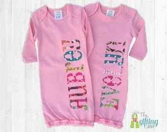 Monogrammed Baby Girls Gown Set, Two Personalized Pink Baby Gowns, Twin Girls Baby Gift, Baby Shower Gift for Twins, Appliqué Baby Gowns