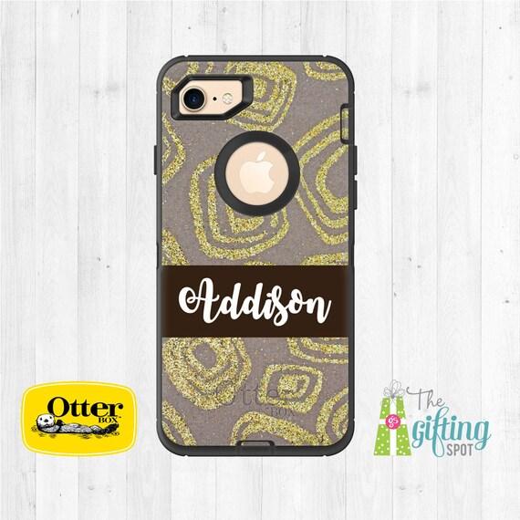 half off b3d8b 35c35 Custom OtterBox, Personalized Phone Case, OtterBox Defender, Monogram  OtterBox, iPhone X, iPhone 7, iPhone 7 Plus, iPhone 8, Glitter Twist