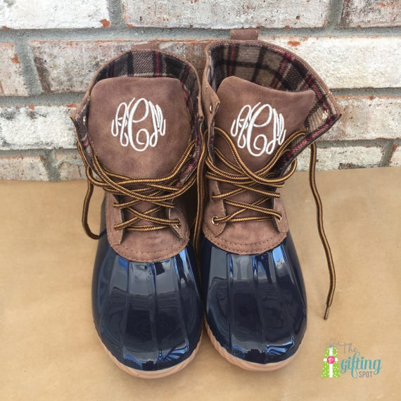 Boots Boots Lined Boots Boots Plaid Resistant Duck Duck Initials Monogrammed with Water Boots Duck Personalized Boots Women's UXqHnxwvt