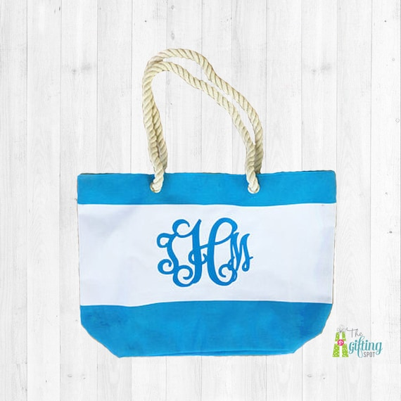 monogrammed beach bag personalized beach tote striped bag etsy