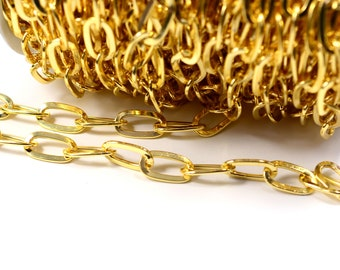 2x3  mm Oval Circle  Chain Link CGH1009 24K Shiny Gold Plated Chain Jewelry Supplies Necklace Chain