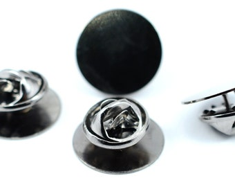 40 Pcs Set Silver  Color  7x12 mm  Glue Pad Tie Tack Blanks Findings