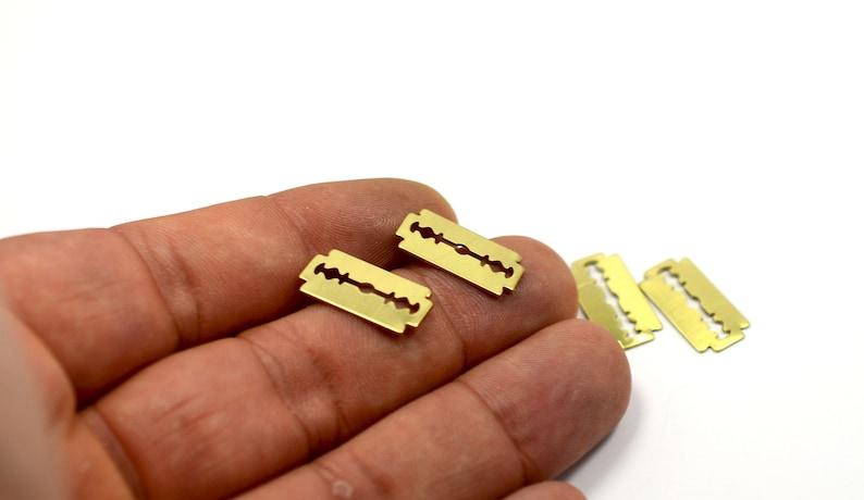 Raw Brass Razor Blade Small 9x18 mm Charms 100 Pcs