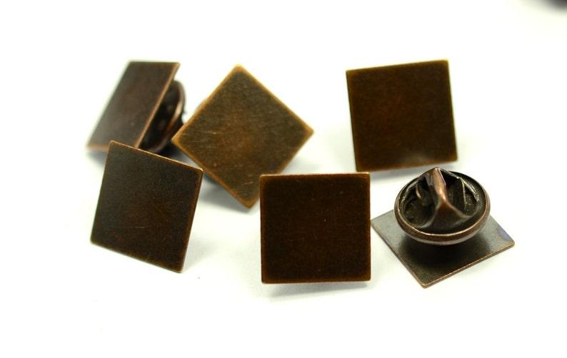 120 Pieces Antique Copper 13x13 mm Square Glue Pad Tie Tacks Clutch Pin