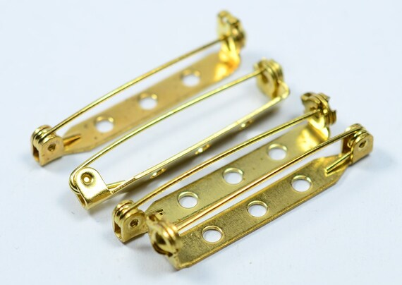 4 x 15 mm Raw Brass Brooch Pin Findings