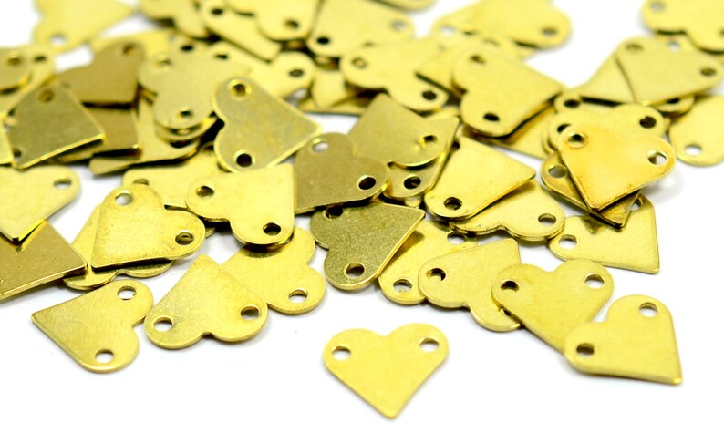 Raw Brass 9x9 mm 2 Hole Stamping Hearth Blanks Findings 250 Pcs