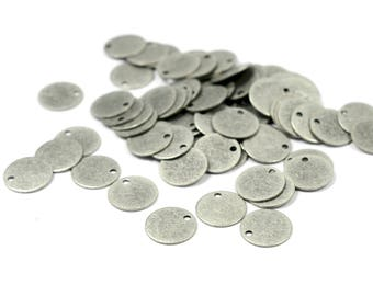 100 Pcs. Antique Silver 9 mm Round  Disc  Charm Findings