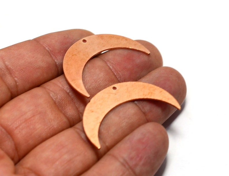 Tag Charms Raw Copper  Crescent Charms Jewelry Supplies    MC6 Copper 1 Hole Crescent Charms Blanks 0.8x9x35 mm