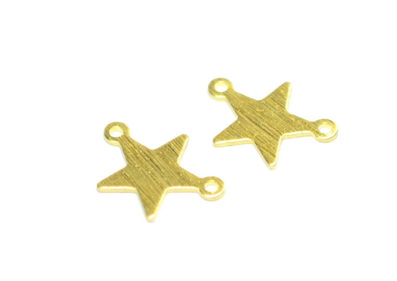 Star With 2 Loop Findings 0.8x12x16 mm Findings   MT249 Brass Textured Star Charms