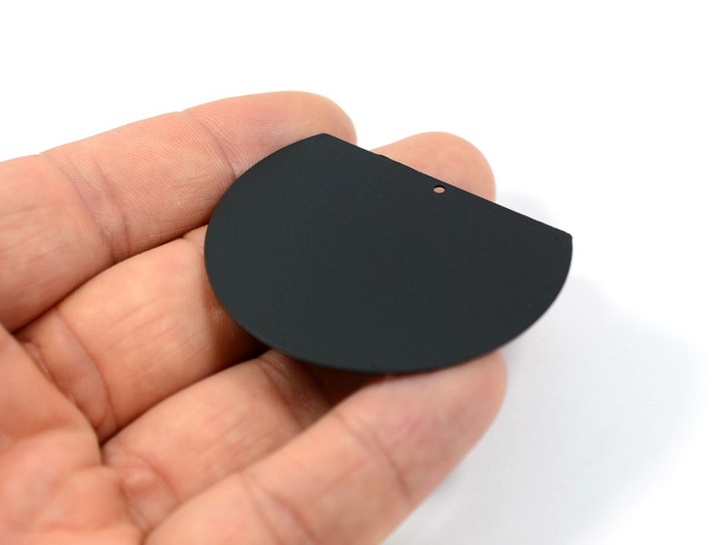Black Semi Blanks Connectors   BL45 Jewelry Supplies 0.5x41x52 mm Black 1 Hole Semi Charms